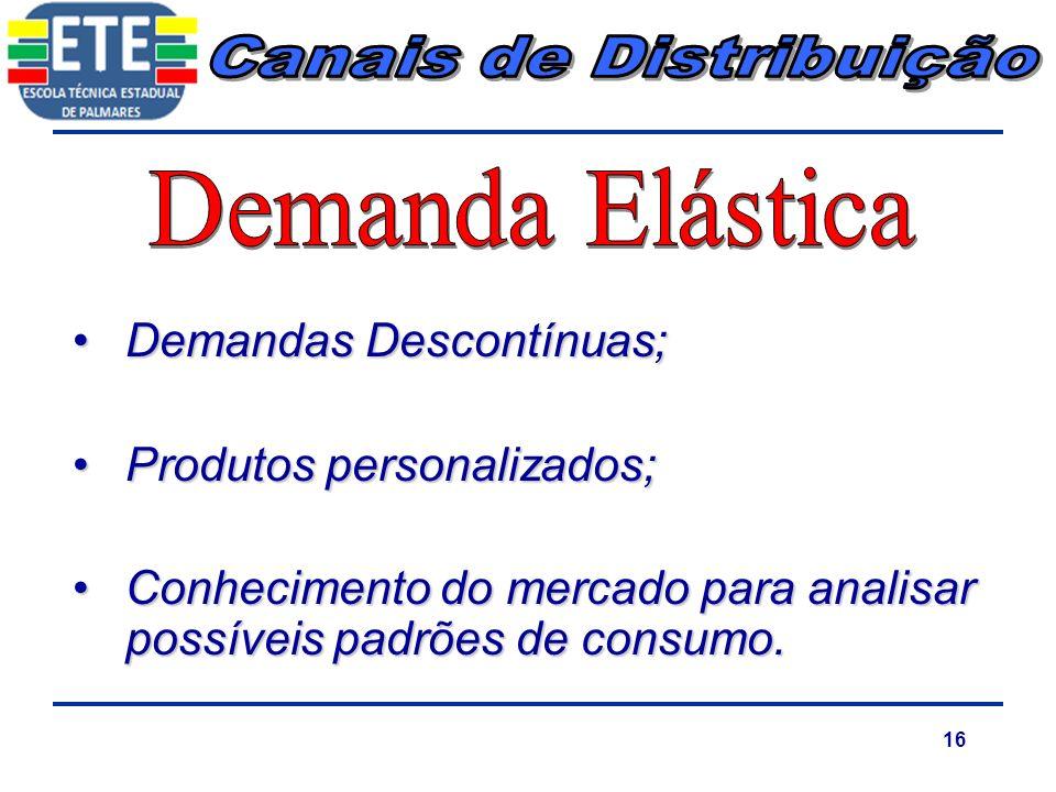 16 Demandas Descontínuas;Demandas Descontínuas; Produtos personalizados;Produtos personalizados; Conhecimento do mercado para analisar possíveis padrõ