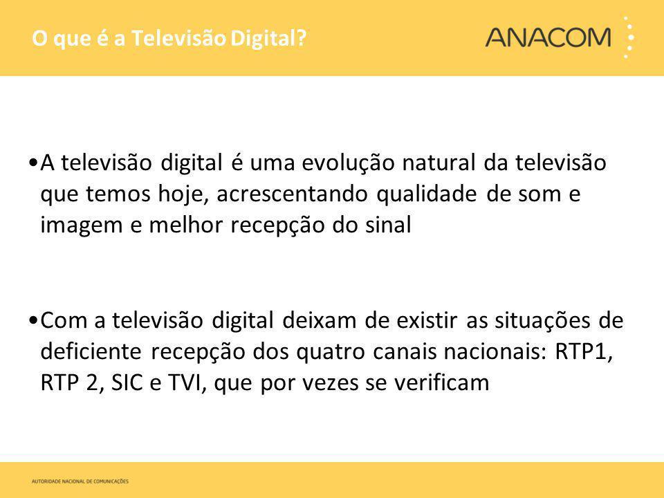 O que é a Televisão Digital? A televisão digital é uma evolução natural da televisão que temos hoje, acrescentando qualidade de som e imagem e melhor