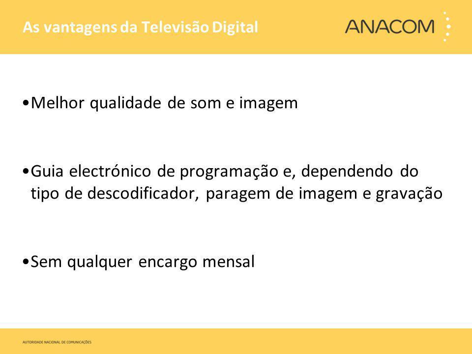 As vantagens da Televisão Digital Melhor qualidade de som e imagem Guia electrónico de programação e, dependendo do tipo de descodificador, paragem de