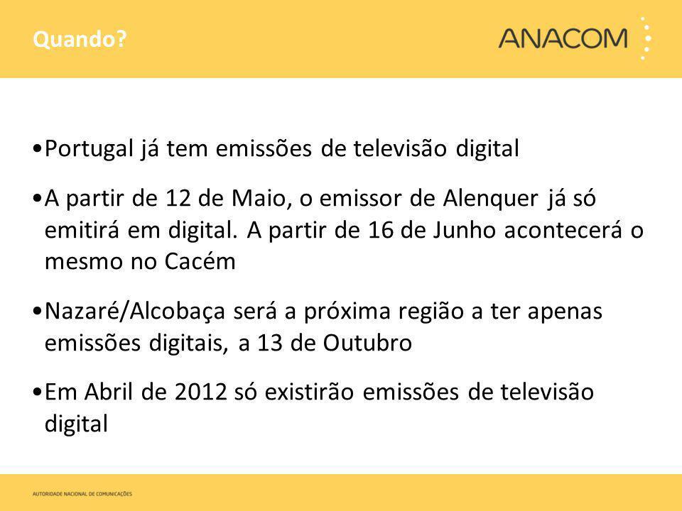 Quando? Portugal já tem emissões de televisão digital A partir de 12 de Maio, o emissor de Alenquer já só emitirá em digital. A partir de 16 de Junho