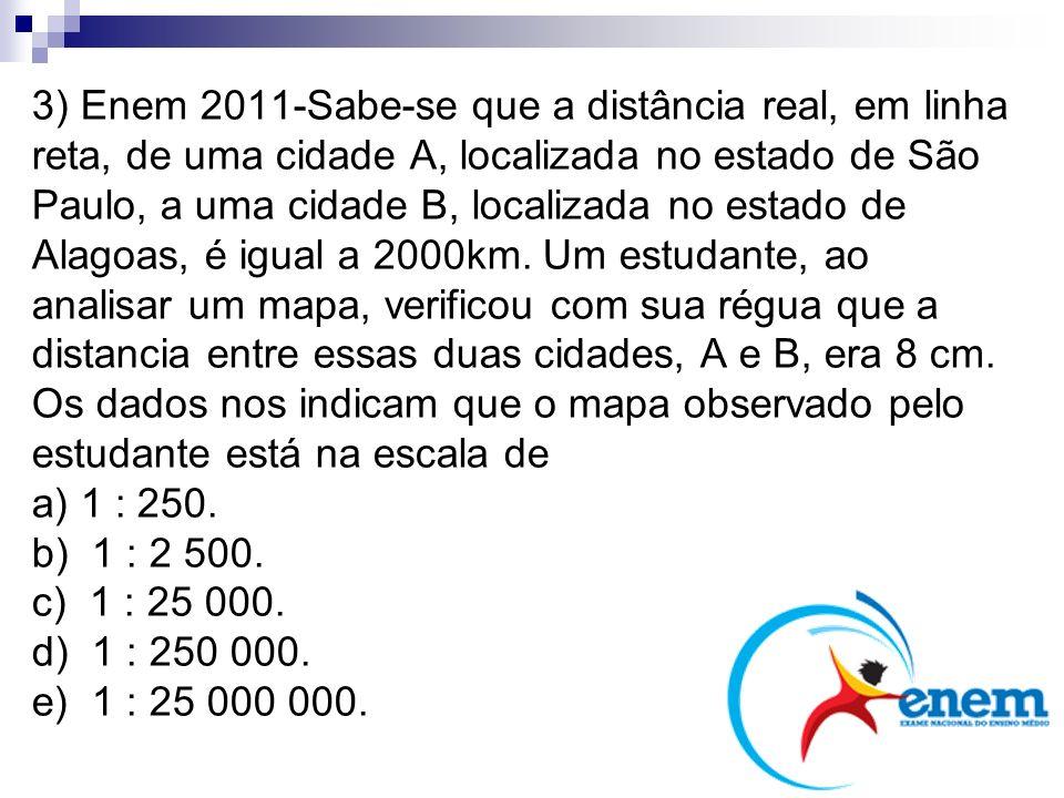 3) Enem 2011-Sabe-se que a distância real, em linha reta, de uma cidade A, localizada no estado de São Paulo, a uma cidade B, localizada no estado de