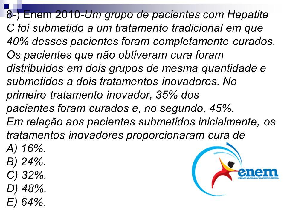 8-) Enem 2010-Um grupo de pacientes com Hepatite C foi submetido a um tratamento tradicional em que 40% desses pacientes foram completamente curados.