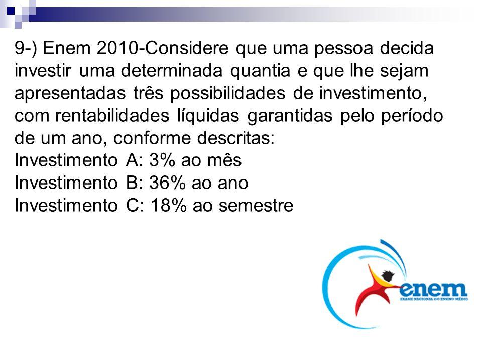 9-) Enem 2010-Considere que uma pessoa decida investir uma determinada quantia e que lhe sejam apresentadas três possibilidades de investimento, com r