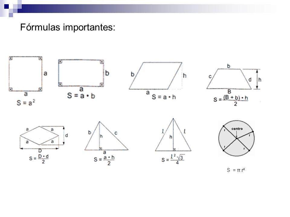 Fórmulas importantes: S = π.r²
