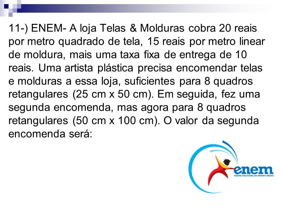 11-) ENEM- A loja Telas & Molduras cobra 20 reais por metro quadrado de tela, 15 reais por metro linear de moldura, mais uma taxa fixa de entrega de 1