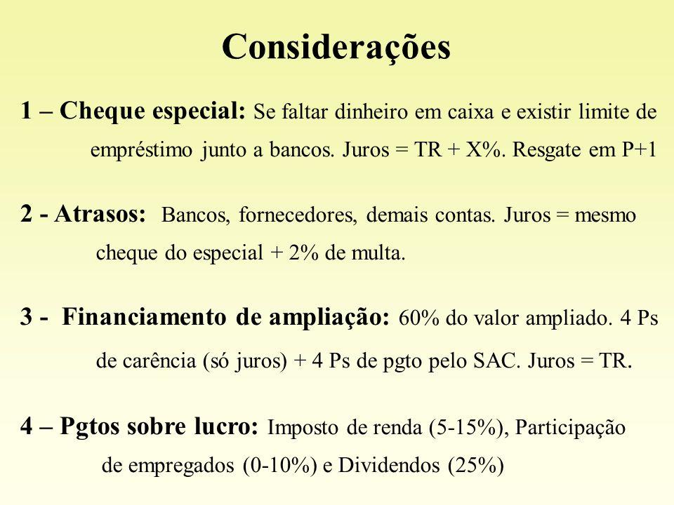 1 – Cheque especial: Se faltar dinheiro em caixa e existir limite de empréstimo junto a bancos. Juros = TR + X%. Resgate em P+1 2 - Atrasos: Bancos, f