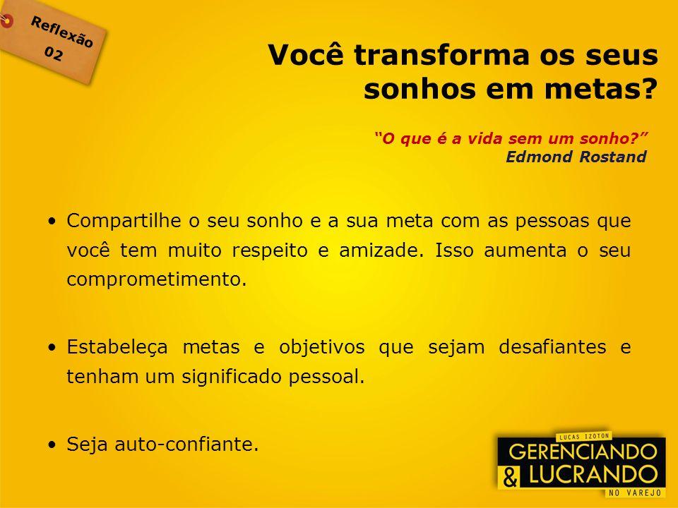 Reflexão 02 O que é a vida sem um sonho? Edmond Rostand Compartilhe o seu sonho e a sua meta com as pessoas que você tem muito respeito e amizade. Iss
