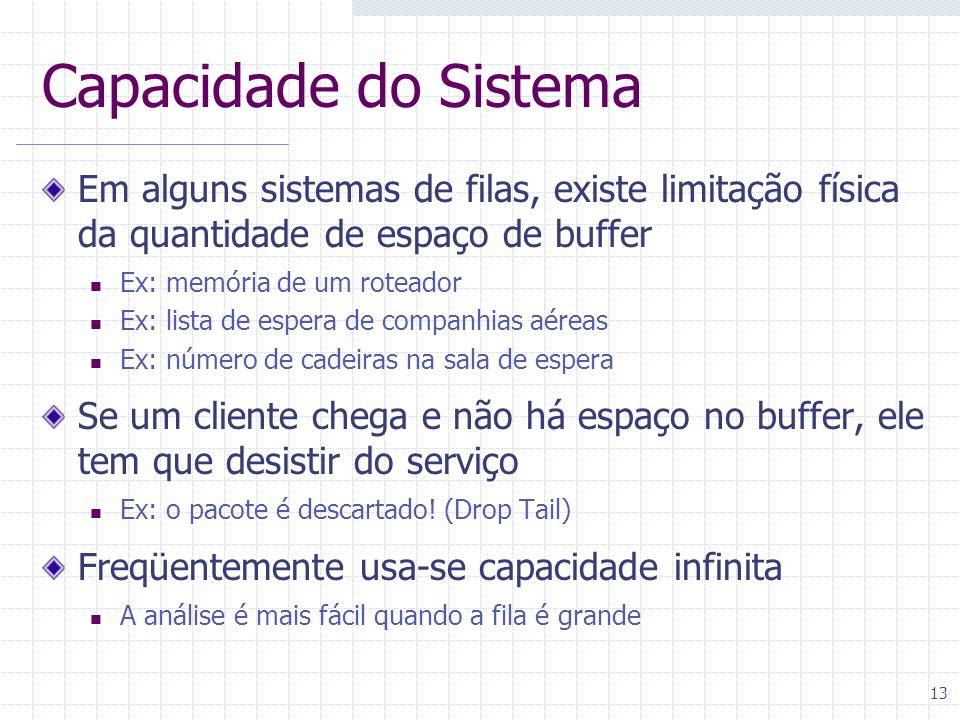 13 Capacidade do Sistema Em alguns sistemas de filas, existe limitação física da quantidade de espaço de buffer Ex: memória de um roteador Ex: lista d