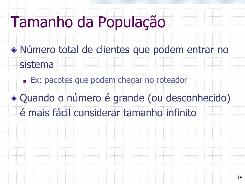 14 Tamanho da População Número total de clientes que podem entrar no sistema Ex: pacotes que podem chegar no roteador Quando o número é grande (ou des