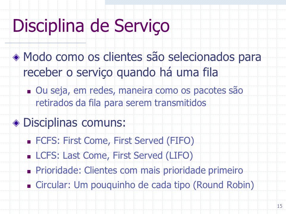 15 Disciplina de Serviço Modo como os clientes são selecionados para receber o serviço quando há uma fila Ou seja, em redes, maneira como os pacotes s