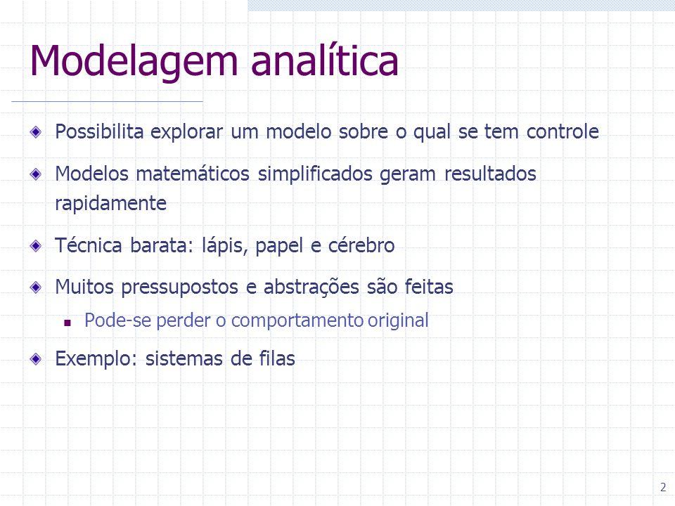 2 Modelagem analítica Possibilita explorar um modelo sobre o qual se tem controle Modelos matemáticos simplificados geram resultados rapidamente Técni