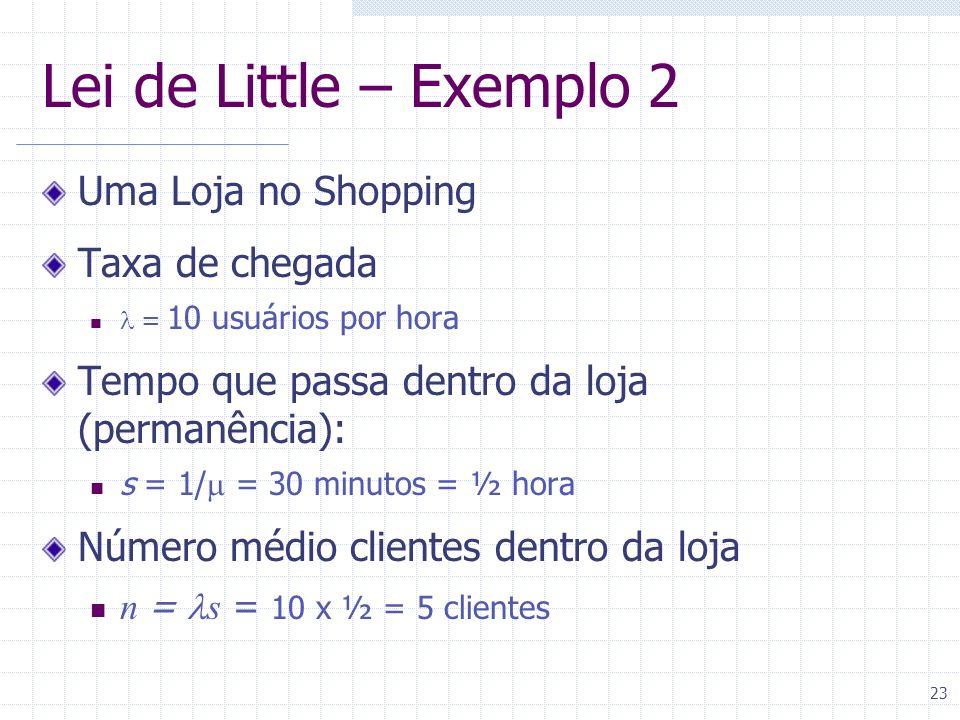 23 Lei de Little – Exemplo 2 Uma Loja no Shopping Taxa de chegada = 10 usuários por hora Tempo que passa dentro da loja (permanência): s = 1/ = 30 min