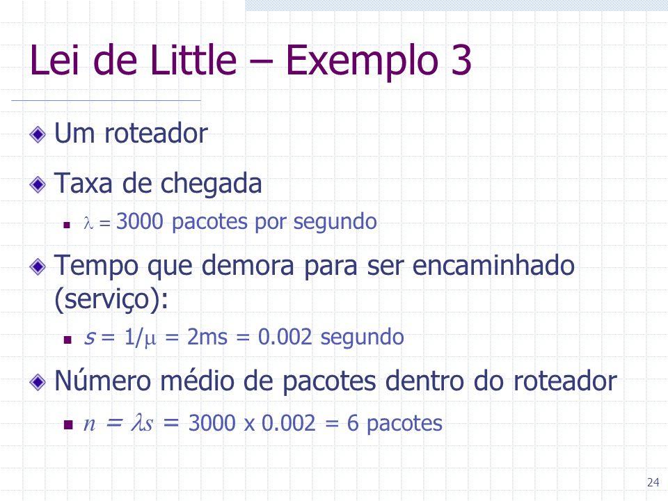 24 Lei de Little – Exemplo 3 Um roteador Taxa de chegada = 3000 pacotes por segundo Tempo que demora para ser encaminhado (serviço): s = 1/ = 2ms = 0.