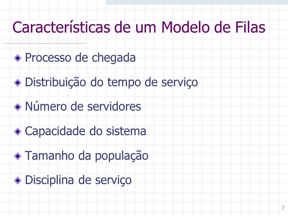 7 Características de um Modelo de Filas Processo de chegada Distribuição do tempo de serviço Número de servidores Capacidade do sistema Tamanho da pop