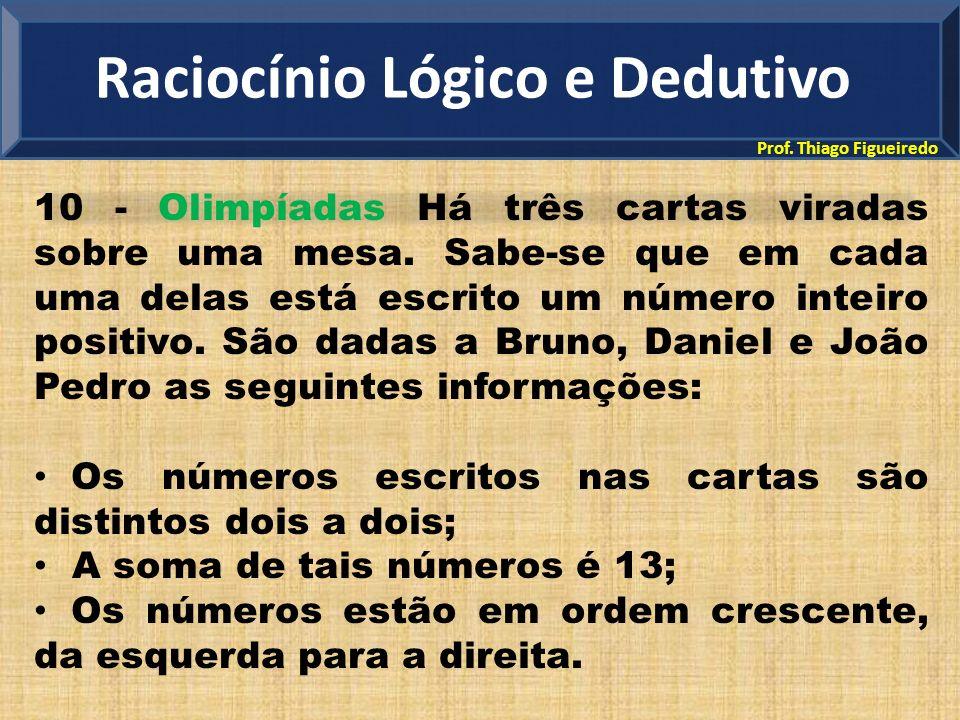 Prof. Thiago Figueiredo 10 - Olimpíadas Há três cartas viradas sobre uma mesa. Sabe-se que em cada uma delas está escrito um número inteiro positivo.