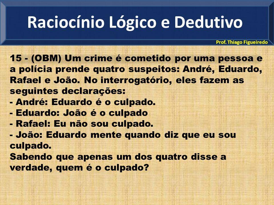 Prof. Thiago Figueiredo 15 - (OBM) Um crime é cometido por uma pessoa e a polícia prende quatro suspeitos: André, Eduardo, Rafael e João. No interroga