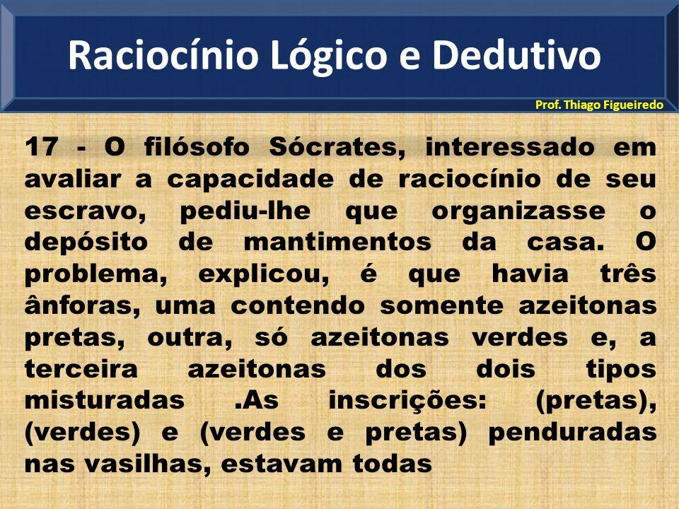 Prof. Thiago Figueiredo 17 - O filósofo Sócrates, interessado em avaliar a capacidade de raciocínio de seu escravo, pediu-lhe que organizasse o depósi