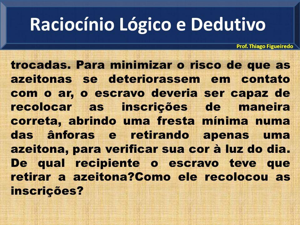 Prof. Thiago Figueiredo trocadas. Para minimizar o risco de que as azeitonas se deteriorassem em contato com o ar, o escravo deveria ser capaz de reco
