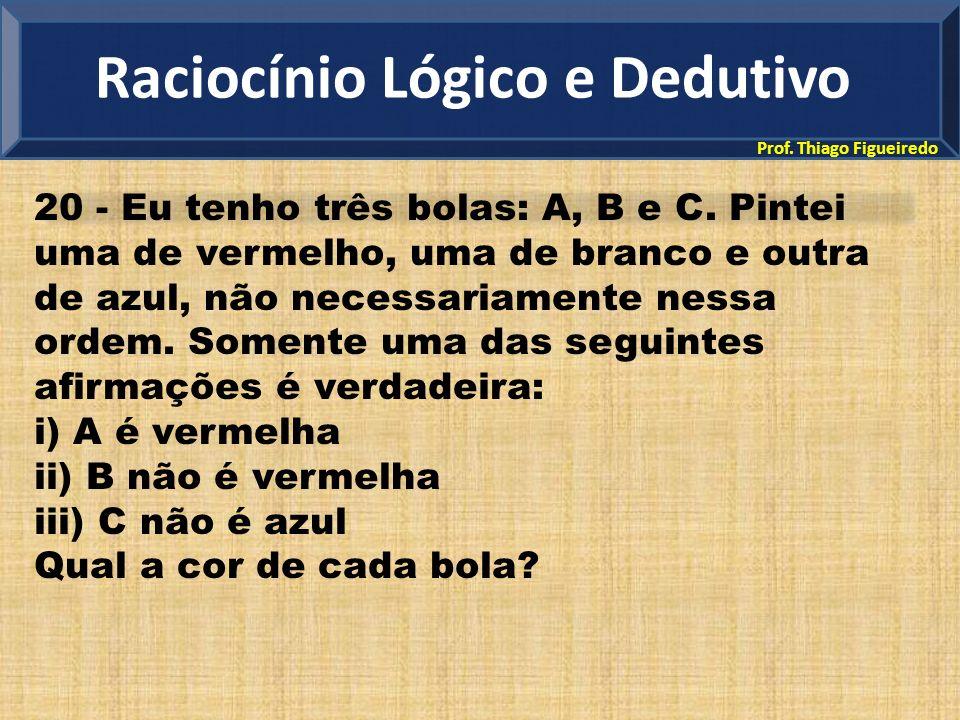Prof. Thiago Figueiredo 20 - Eu tenho três bolas: A, B e C. Pintei uma de vermelho, uma de branco e outra de azul, não necessariamente nessa ordem. So