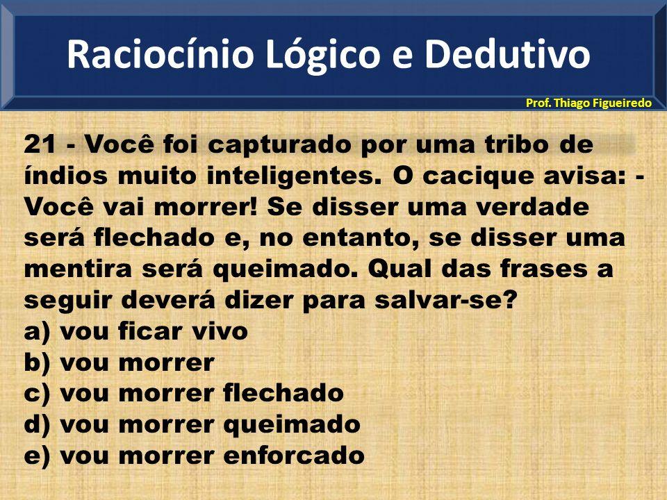Prof.Thiago Figueiredo 21 - Você foi capturado por uma tribo de índios muito inteligentes.