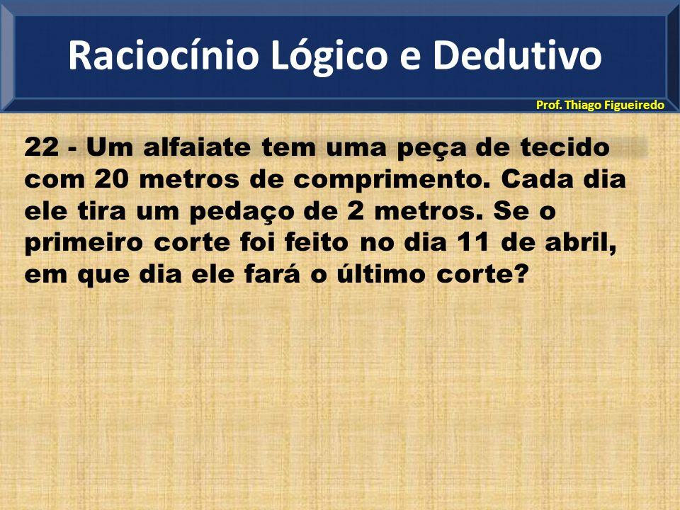 Prof. Thiago Figueiredo 22 - Um alfaiate tem uma peça de tecido com 20 metros de comprimento. Cada dia ele tira um pedaço de 2 metros. Se o primeiro c
