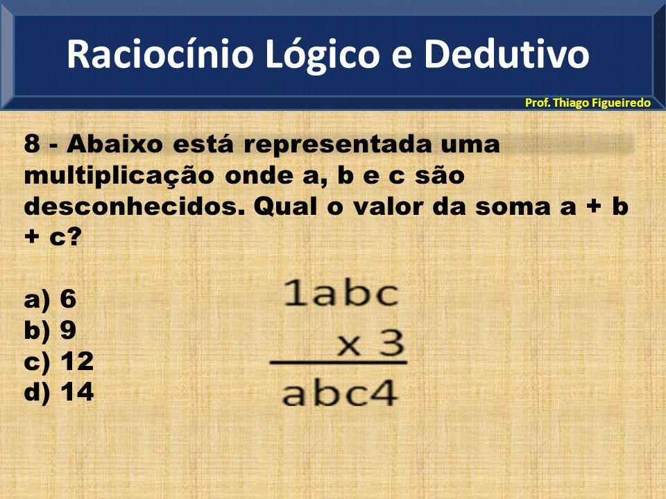 Prof. Thiago Figueiredo 8 - Abaixo está representada uma multiplicação onde a, b e c são desconhecidos. Qual o valor da soma a + b + c? a) 6 b) 9 c) 1