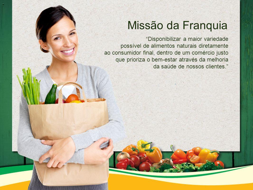 Missão da Franquia Disponibilizar a maior variedade possível de alimentos naturais diretamente ao consumidor final, dentro de um comércio justo que prioriza o bem-estar através da melhoria da saúde de nossos clientes.