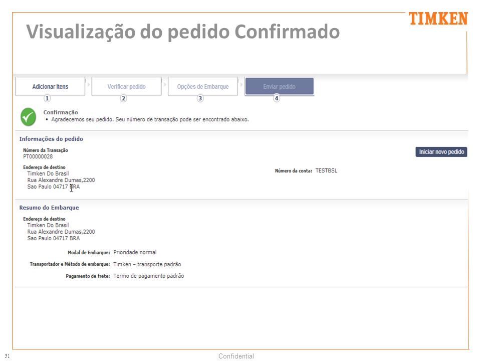 31 Confidential Visualização do pedido Confirmado