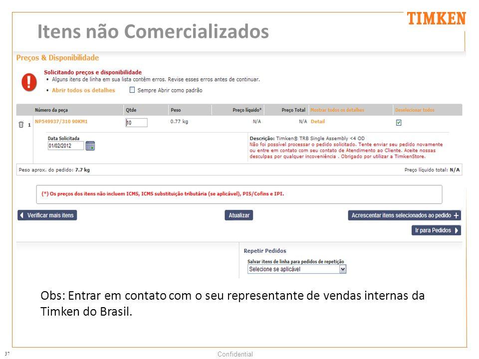 37 Confidential Itens não Comercializados Obs: Entrar em contato com o seu representante de vendas internas da Timken do Brasil.