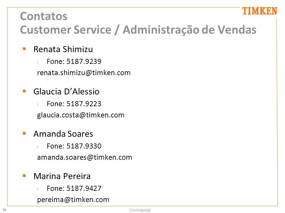 39 Confidential Contatos Customer Service / Administração de Vendas Renata Shimizu l Fone: 5187.9239 renata.shimizu@timken.com Glaucia DAlessio l Fone