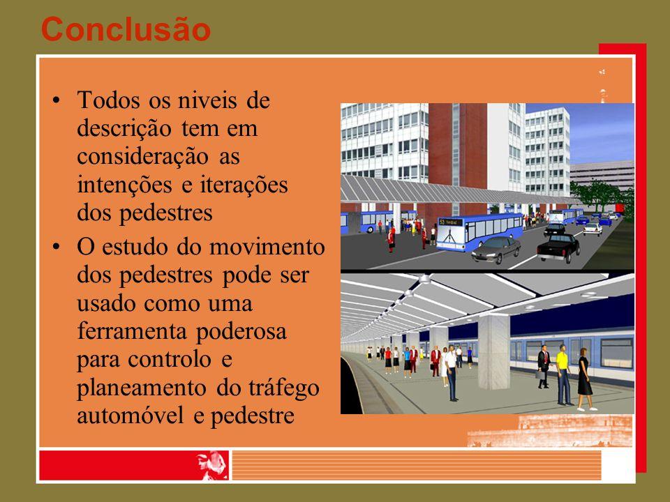 Conclusão Todos os niveis de descrição tem em consideração as intenções e iterações dos pedestres O estudo do movimento dos pedestres pode ser usado c