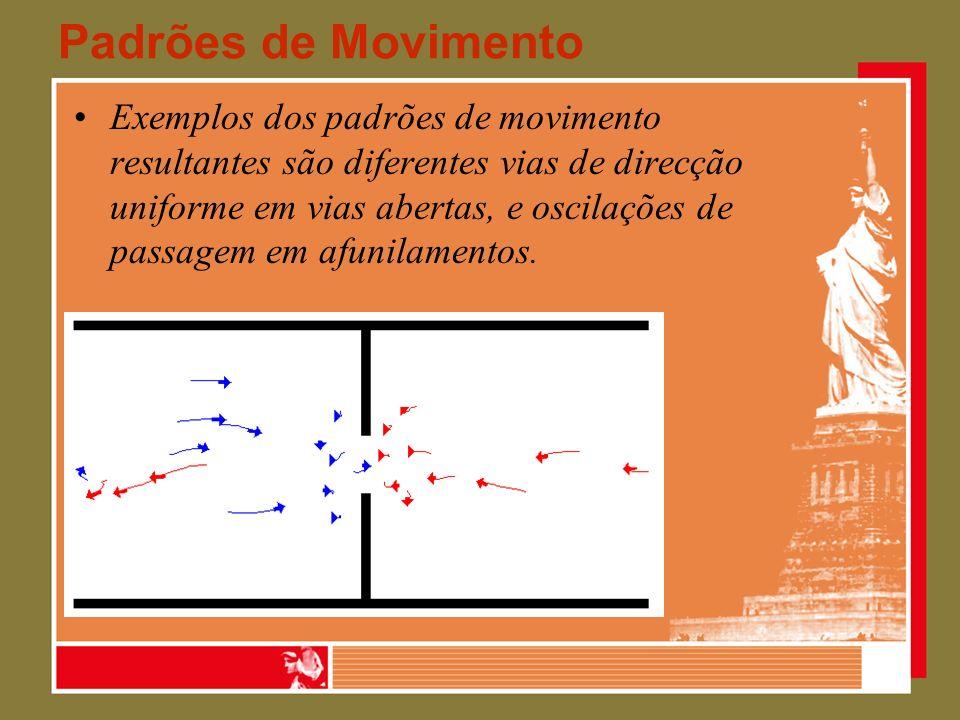Padrões de Movimento Exemplos dos padrões de movimento resultantes são diferentes vias de direcção uniforme em vias abertas, e oscilações de passagem