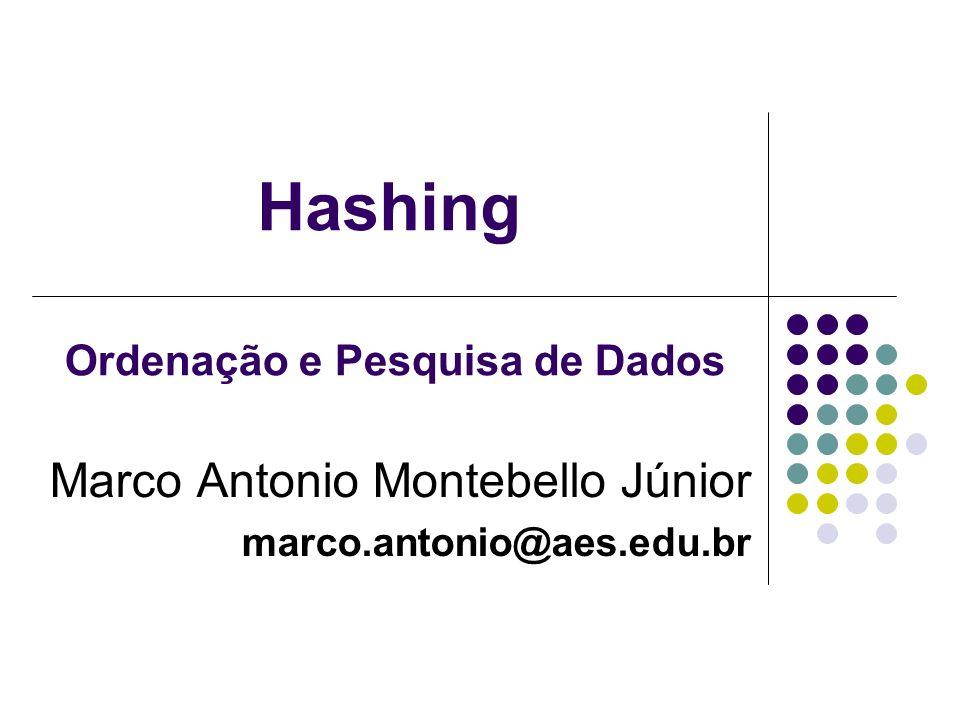 Hashing Marco Antonio Montebello Júnior marco.antonio@aes.edu.br Ordenação e Pesquisa de Dados