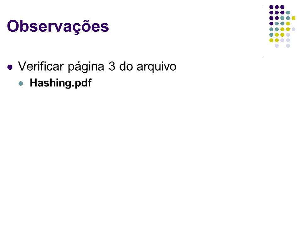 Observações Verificar página 3 do arquivo Hashing.pdf