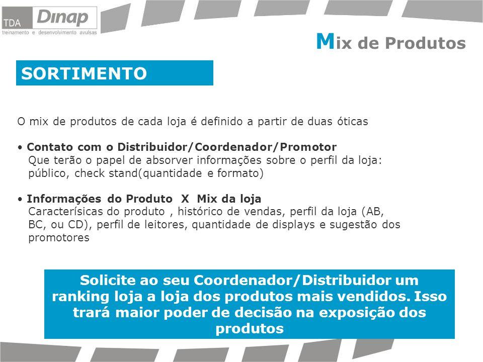 SORTIMENTO O mix de produtos de cada loja é definido a partir de duas óticas Contato com o Distribuidor/Coordenador/Promotor Que terão o papel de abso