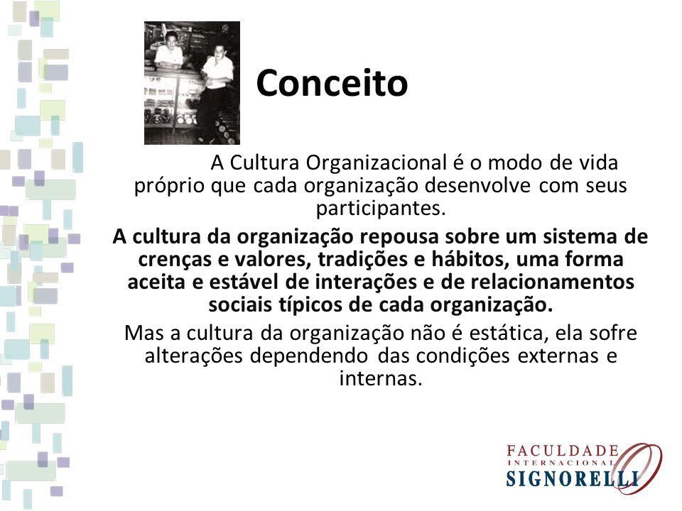 Conceito A Cultura Organizacional é o modo de vida próprio que cada organização desenvolve com seus participantes. A cultura da organização repousa so