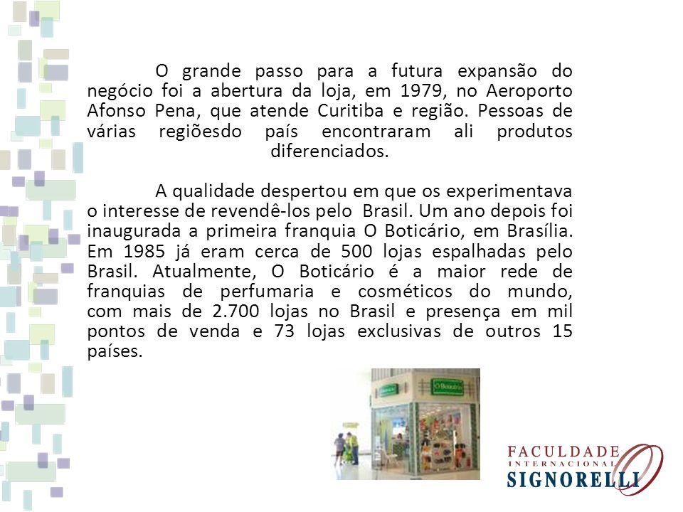 O grande passo para a futura expansão do negócio foi a abertura da loja, em 1979, no Aeroporto Afonso Pena, que atende Curitiba e região. Pessoas de v
