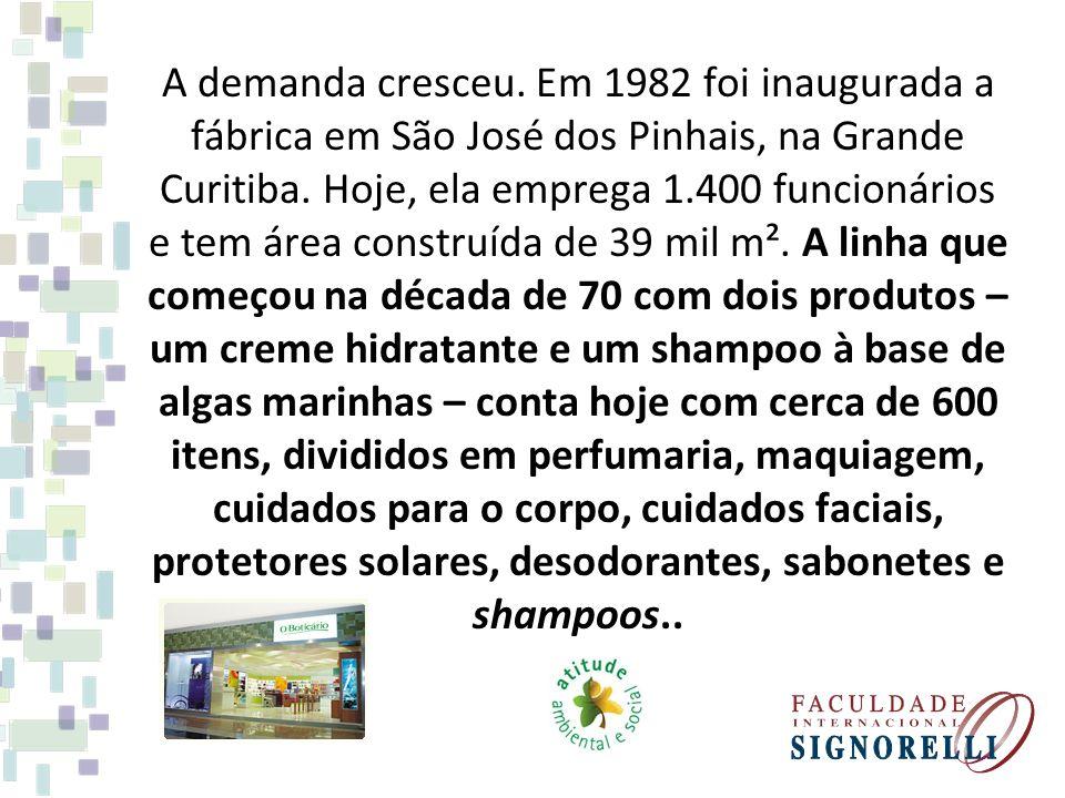 A demanda cresceu. Em 1982 foi inaugurada a fábrica em São José dos Pinhais, na Grande Curitiba. Hoje, ela emprega 1.400 funcionários e tem área const