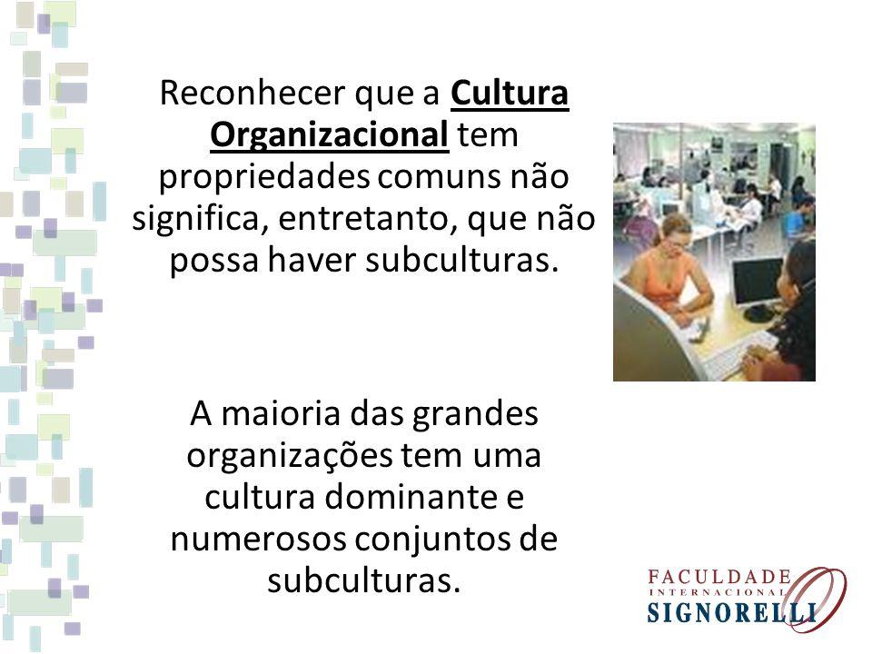 Reconhecer que a Cultura Organizacional tem propriedades comuns não significa, entretanto, que não possa haver subculturas. A maioria das grandes orga