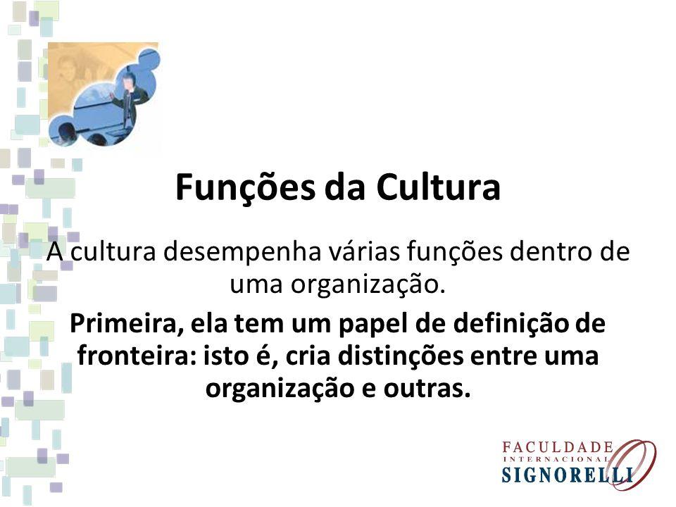Funções da Cultura A cultura desempenha várias funções dentro de uma organização. Primeira, ela tem um papel de definição de fronteira: isto é, cria d