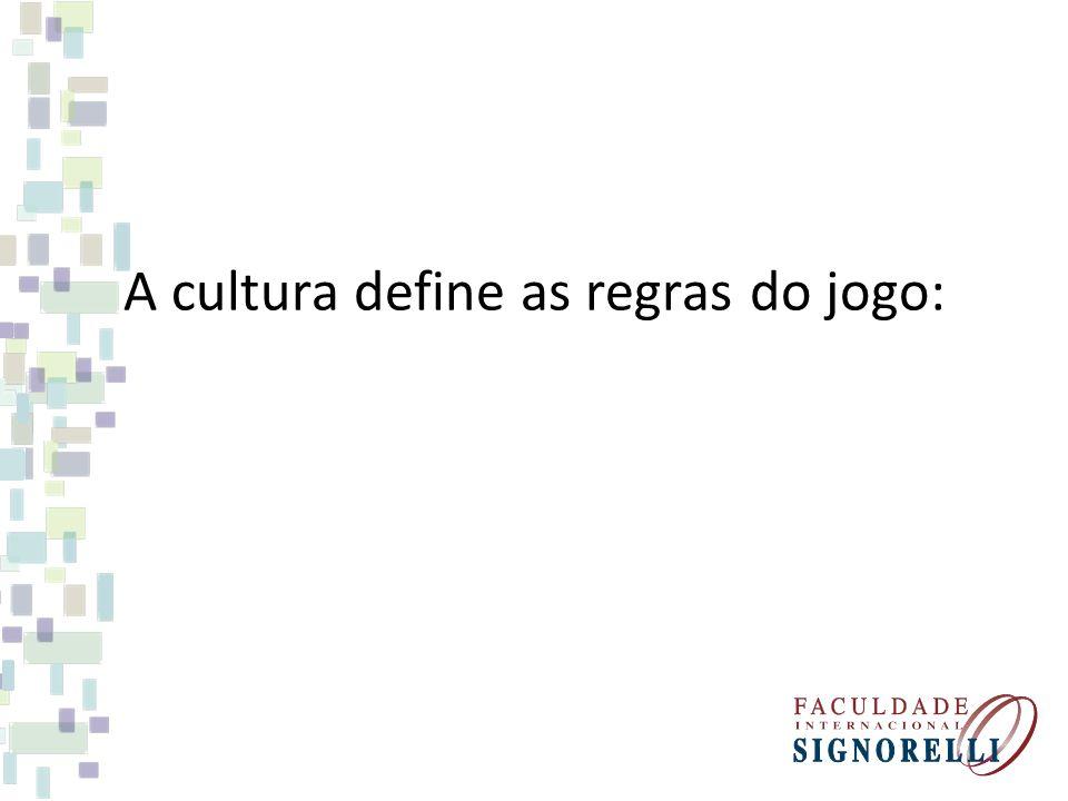 A cultura define as regras do jogo: