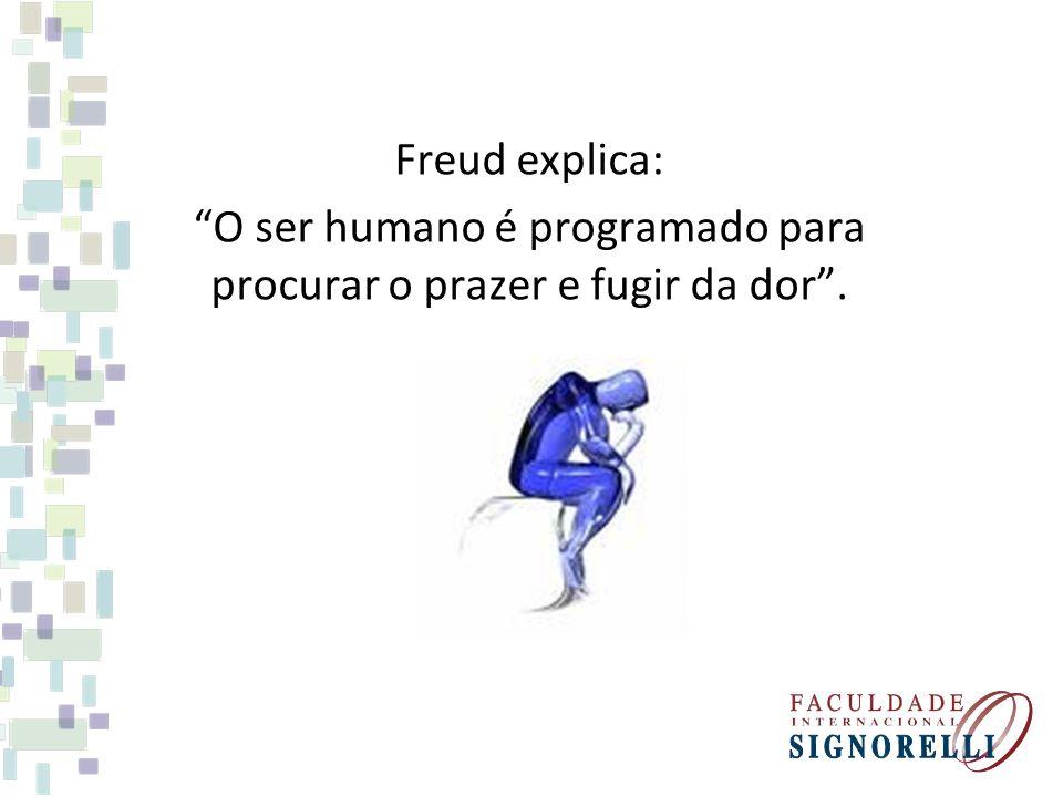Freud explica: O ser humano é programado para procurar o prazer e fugir da dor.