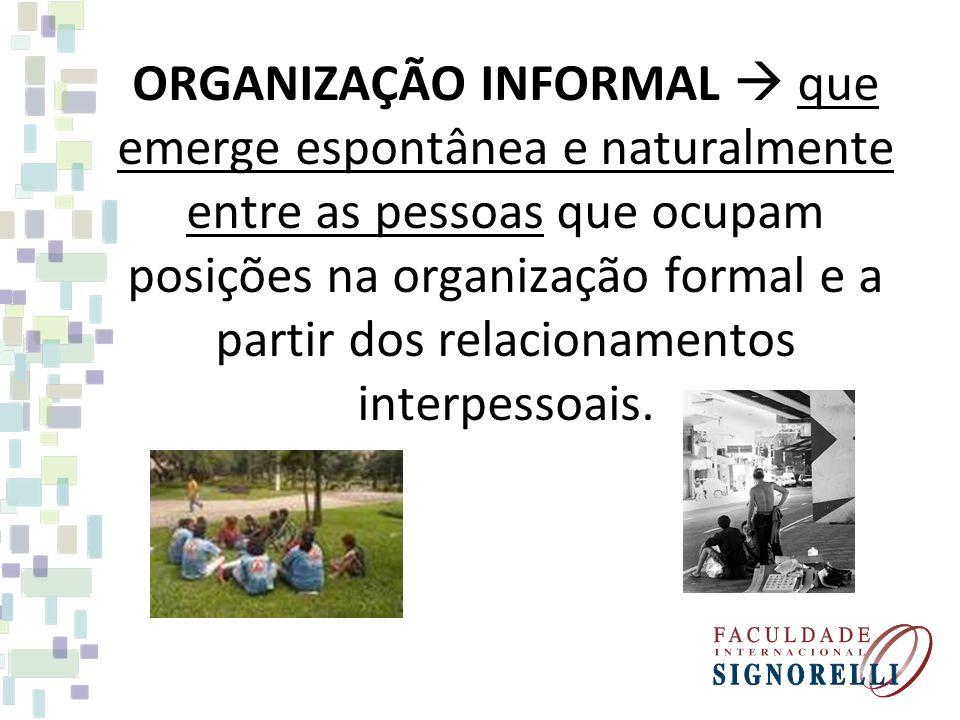 ORGANIZAÇÃO INFORMAL que emerge espontânea e naturalmente entre as pessoas que ocupam posições na organização formal e a partir dos relacionamentos in