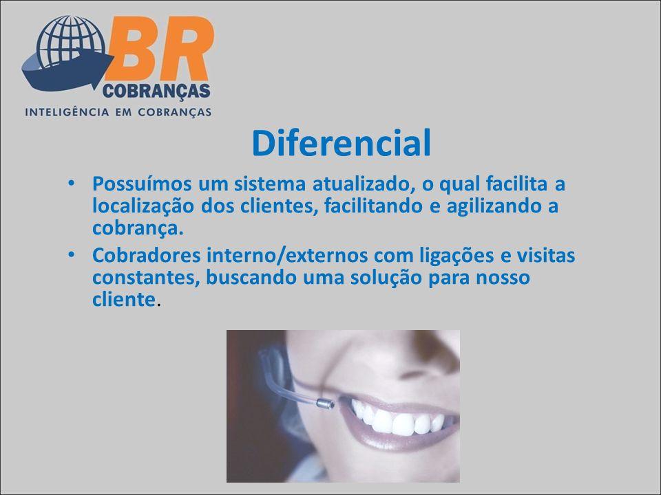 Diferencial Possuímos um sistema atualizado, o qual facilita a localização dos clientes, facilitando e agilizando a cobrança. Cobradores interno/exter