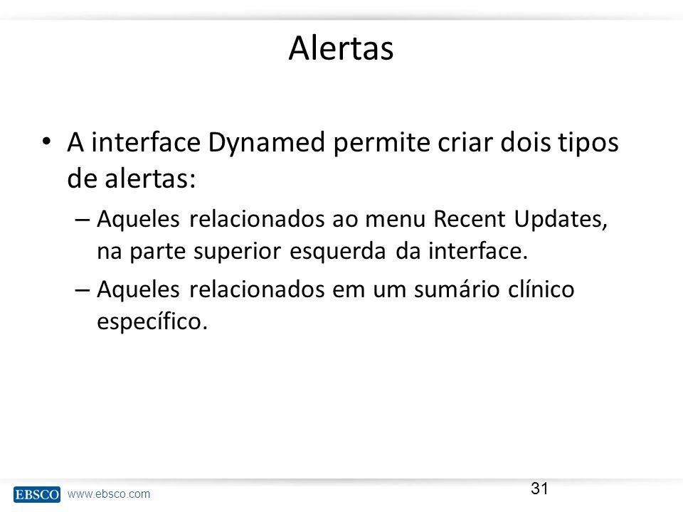 www.ebsco.com Alertas A interface Dynamed permite criar dois tipos de alertas: – Aqueles relacionados ao menu Recent Updates, na parte superior esquer