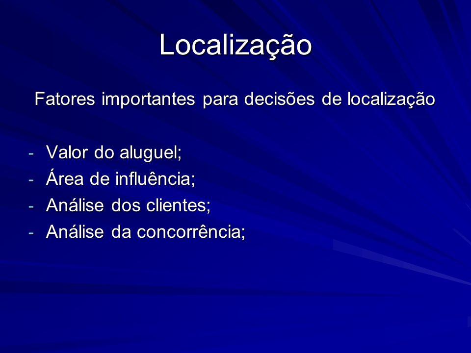Localização Fatores importantes para decisões de localização Fatores importantes para decisões de localização - Valor do aluguel; - Área de influência; - Análise dos clientes; - Análise da concorrência;