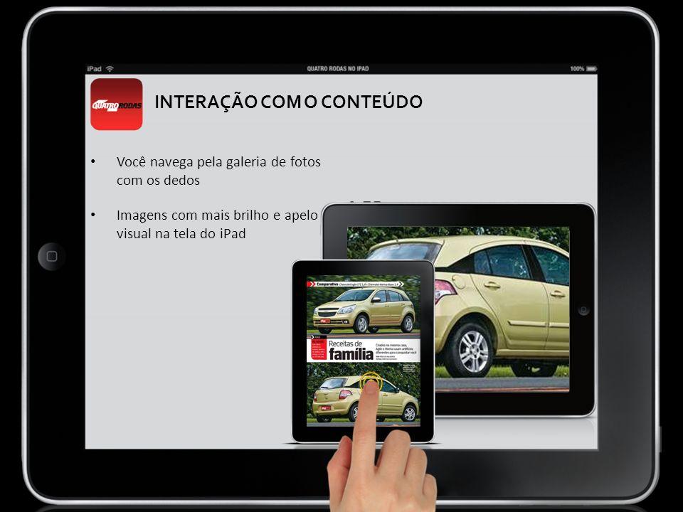 INTERAÇÃO COM O CONTEÚDO Você navega pela galeria de fotos com os dedos Imagens com mais brilho e apelo visual na tela do iPad