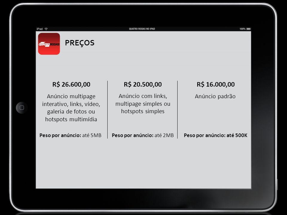 PREÇOS Anúncio multipage interativo, links, vídeo, galeria de fotos ou hotspots multimídia R$ 26.600,00 Peso por anúncio: até 5MB R$ 16.000,00 Anúncio