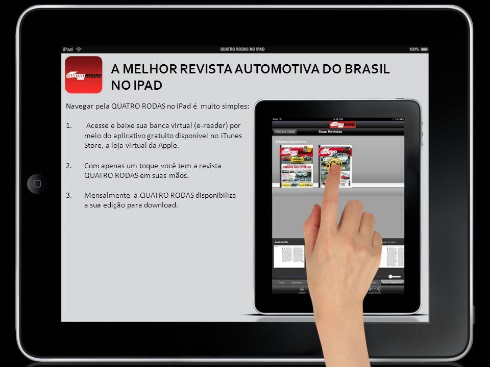 Navegar pela QUATRO RODAS no iPad é muito simples: 1. Acesse e baixe sua banca virtual (e-reader) por meio do aplicativo gratuito disponível no iTunes