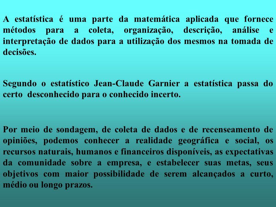 A estatística é uma parte da matemática aplicada que fornece métodos para a coleta, organização, descrição, análise e interpretação de dados para a ut